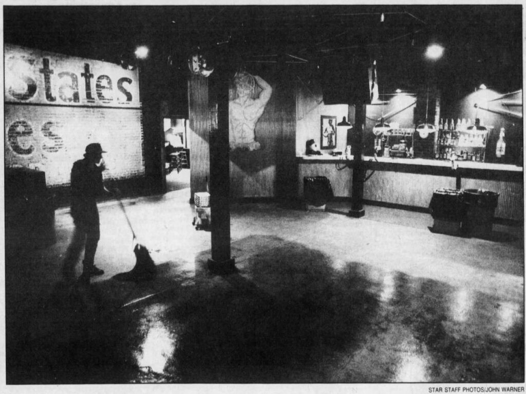 Kerry Earhart mops the dance floor at Our Place to get the bar ready for its 5 p.m. opening. | Our Place (Indianapolis, Indiana) | The Indianapolis Star (Indianapolis, Indiana) | 30 September 1990 | Page 22