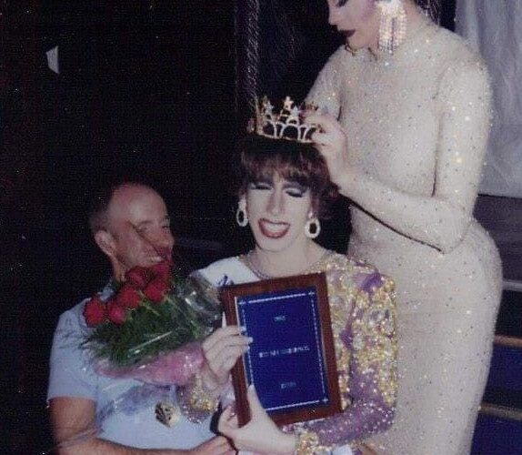Tonya Bear Rogers (seated on the knee of Kole Michaels) being crowned Miss Gay Indianapolis America by Asia LaBouche | Miss Gay Indianapolis America | Club Cabaret (Indianapolis, Indiana) | 4/19/2002 CROPPED