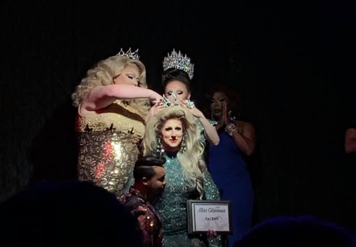 Ana Crusis (seated on Monroe DeMoore's knee) being crowned the next Miss Glamour by Dixxxie Licious and Kassia Brookes. Siniya Omni Hall in the blue dress is back stage. | Miss Glamour | Gregs (Indianapolis, Indiana) | 4/21/2019