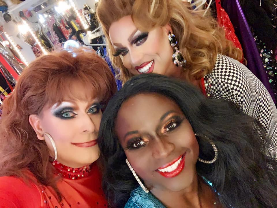 Deva Station (back) with Sabrina White and Dominique Sanchez | Hamburger Mary's (St. Louis, Missouri) | July 2019