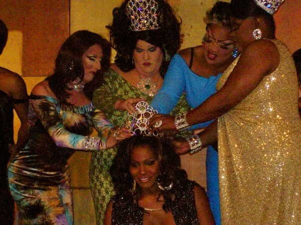Akasha O'Hara Lords being crowned Miss Gay Ohio USofA at Large by Samantha Rollins, Alexis Stevens, Monica Paige St. James and Tajma Hall | Miss Gay Ohio USofA at Large | Axis Nightclub (Columbus, Ohio) | Circa 2009