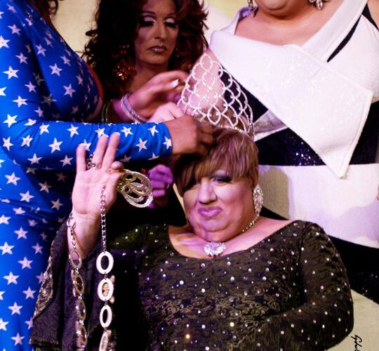Delta Blake being crowned as Miss Gay Columbus USofA at Large by Akasha O'Hara Lords, Samantha Rollins and Madelynne St. Jaymes | Miss Gay Columbus USofA at Large | Axis Nightclub (Columbus, Ohio) | 4/10/2011 | Photo by Queer Eye Photography