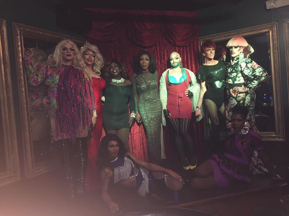Back: Ava Aurora Foxx, Karina Phoenix, Cherry Poppins, Milaye Duplaix, Nikki Stone, Jennifer Lynn Ali and Soy Queen; Front: Sabrina Caprice Heartt and Jada Fenix-Lorez | Cavan Irish Pub (Columbus, Ohio) | September 2018