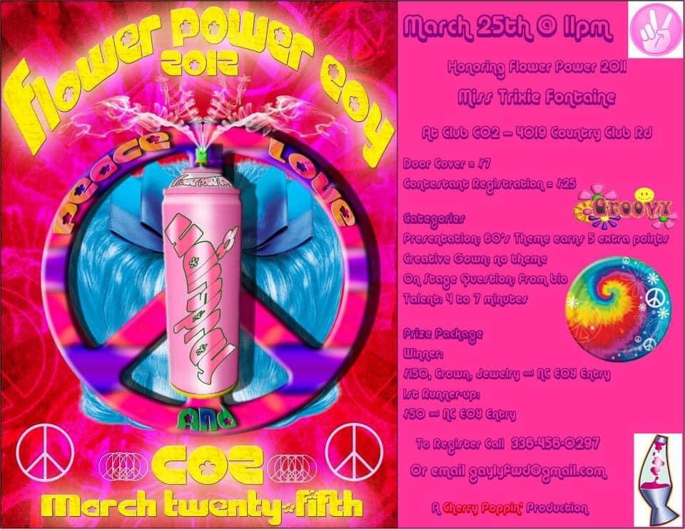 Ad | Flower Power Entertainer of the Year, F.I. | CO2 (Winston-Salem, North Carolina) | 3/25/2012