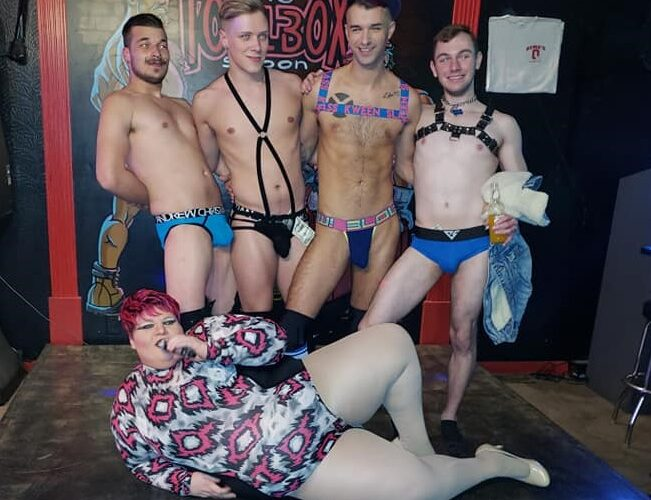 """Damien the Man, Colin David, Grayson Knight-Lites and Blake Ellis with Redd Valentine. This was from the """"Sex Ed with Redd"""" show at Toolbox Saloon in Columbus, Ohio on 2/14/2019. cropped"""