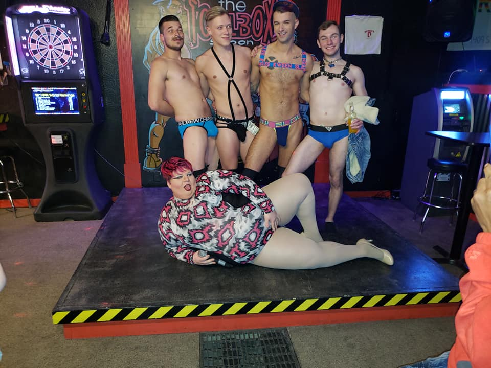 "Damien the Man, Colin David, Grayson Knight-Lites and Blake Ellis with Redd Valentine.  This was from the ""Sex Ed with Redd"" show at Toolbox Saloon in Columbus, Ohio on 2/14/2019."