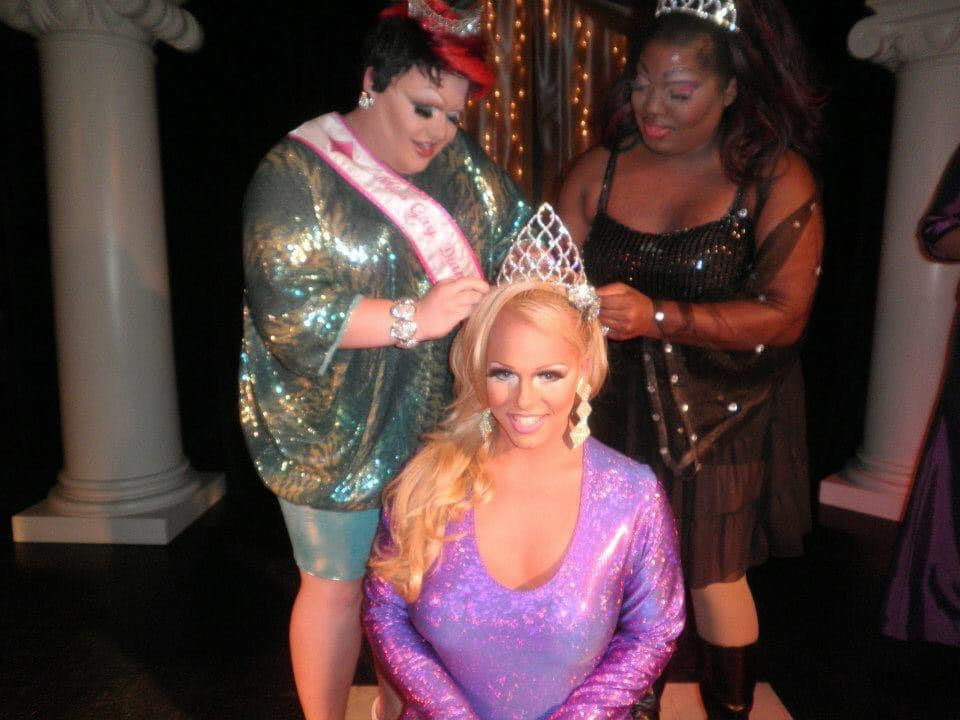 Tiffany Dior is crowned Miss Summer Sizzle 2012 by Shelita Bonet Hoyle (left) and Rayvn Samone Davidson Fontaine (right). | Miss Summer Sizzle | Club Cabaret (Hickory, North Carolina) | Circa 2012