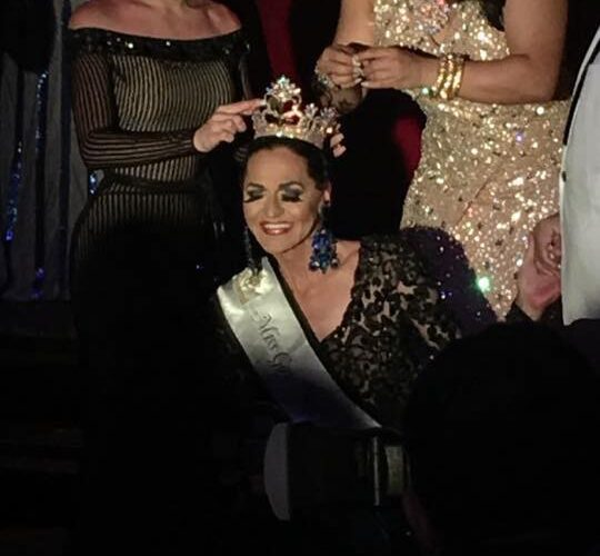 Kelly Ray being crowned Miss Gay New York America 2017 with Aida Stratton (left) and Suzy Wong (right) | Miss Gay New America | Hudson Terrace (New York, New York) | 7/24/2017